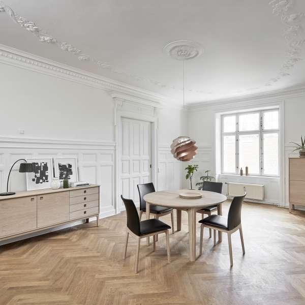 Table ronde en bois naturel style scandinave extensible - SM112 - 1