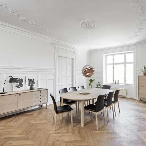Table ronde en bois naturel style scandinave avec allonges - SM112 - 2