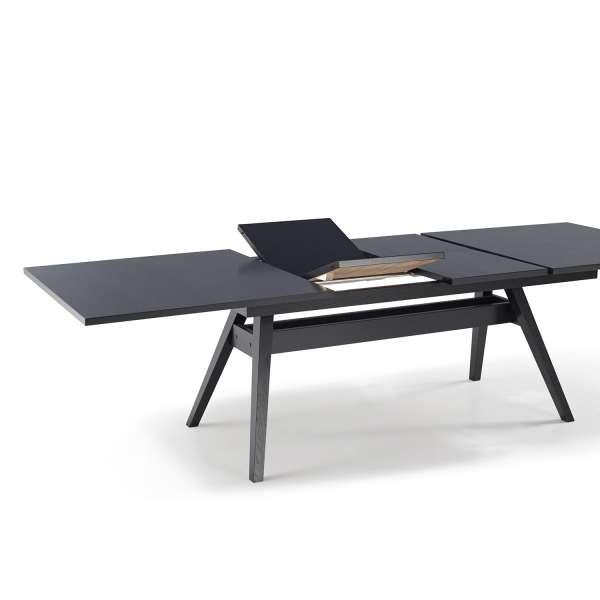 Table de séjour scandinave avec allonges en bois wengé noir - SM11 - 5