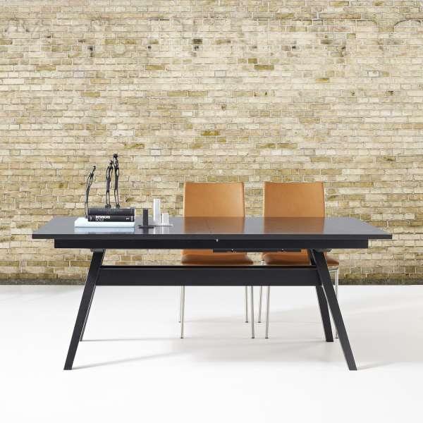 Table de séjour scandinave extensible en bois foncé noir - SM11 - 3