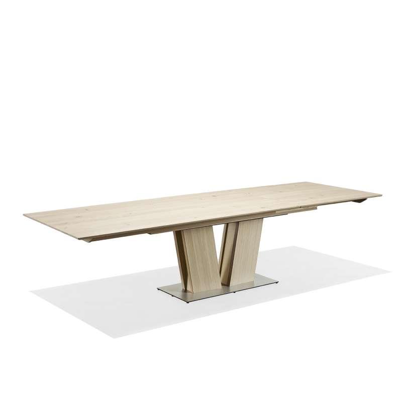 table en bois moderne extensible avec pied central - sm39 | 4-pieds