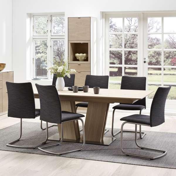 Table en bois naturel moderne extensible avec pied central - SM39 - 3