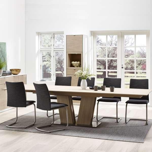 Table en bois naturel moderne avec allonges avec pied central - SM39 - 4