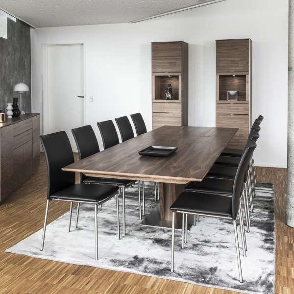 Table en bois foncé extensible avec pied central - SM39 - 6