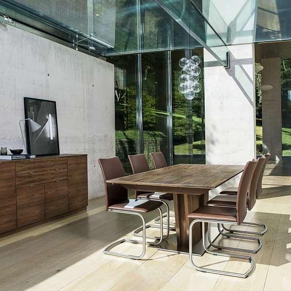 Table en bois foncé moderne avec allonges avec pied central - SM39 - 2