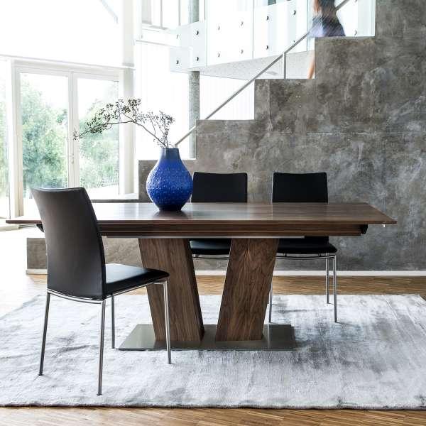 Table en bois foncé moderne extensible avec pied central - SM39 - 1
