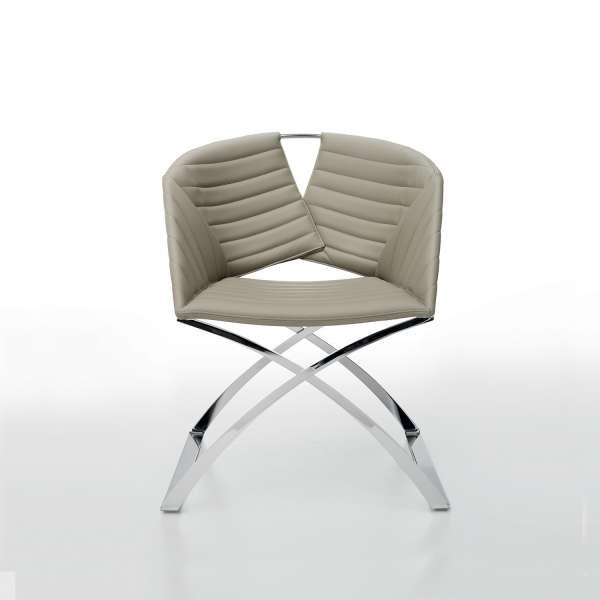 Fauteuil design pied métal synthétique marron Portofino Midj® - 3