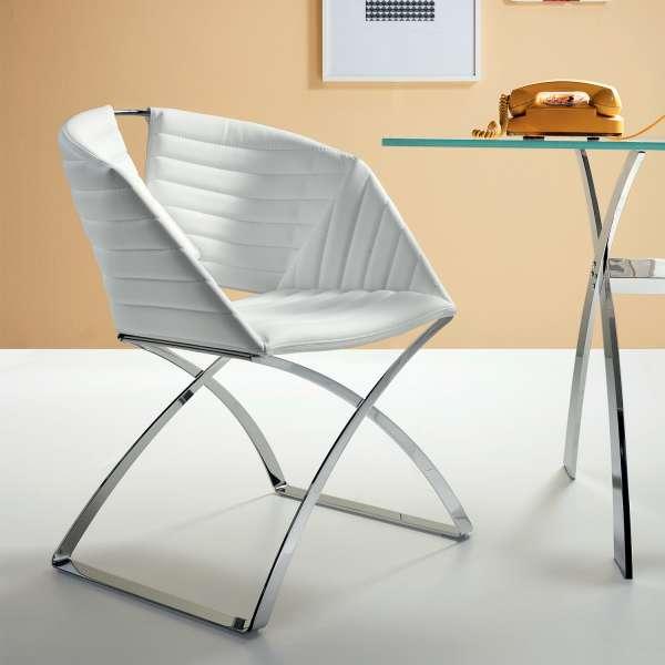 Fauteuil design pied métal vinyle blanc Portofino Midj® - 1