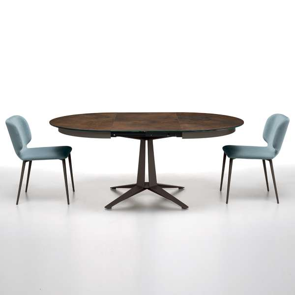 Table Ronde Pied Central Extensible.Table Design Ronde Extensible En Ceramique Pied Central En Metal Link Midj