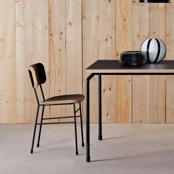Chaise rétro en fénix noir et métal noir - Master S Midj® - 1