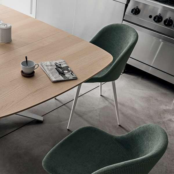 Chaise cocooning en tissu vert et métal blanc - Sonny Midj® - 3