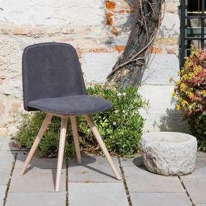 Chaise scandinave en tissu gris et bois naturel - Molly Wood