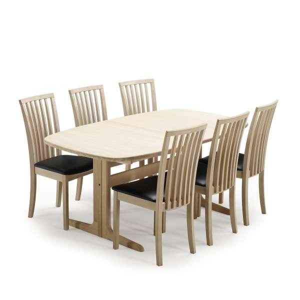 Table en bois massif clair forme elliptique avec allonges - SM 74 - 5