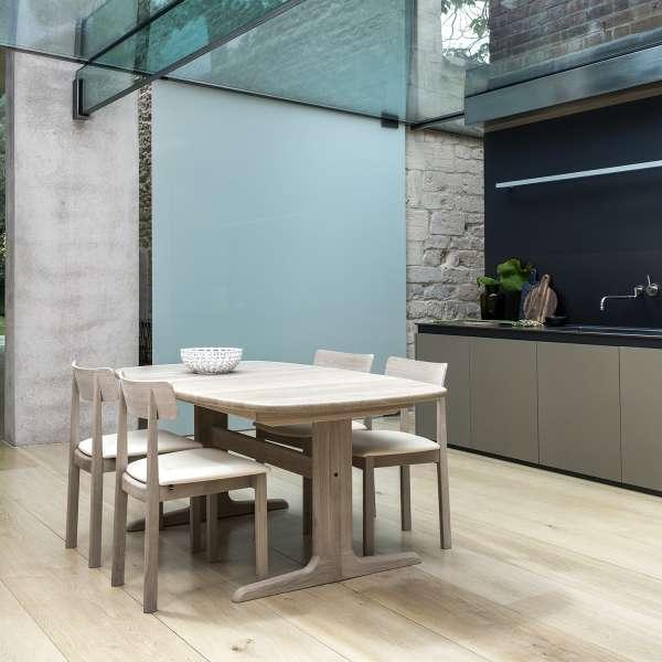 Table en bois massif clair scandinave elliptique avec allonges - SM 74 - 1