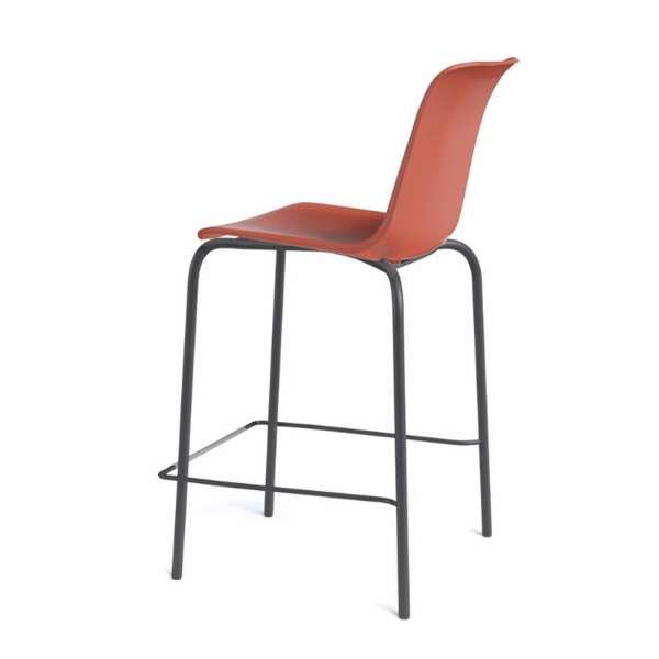 Tabouret empilable en polypropylène rouge orange et métal noir - Paris - 3