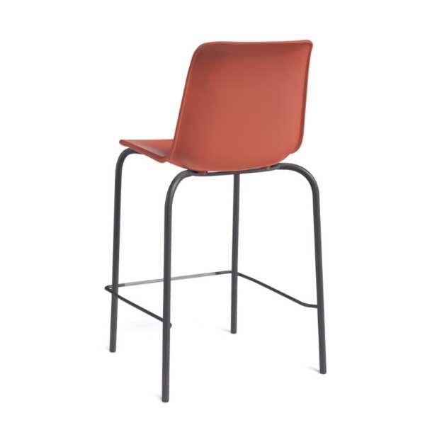 Tabouret empilable en plastique rouge orange et métal noir - Paris - 4