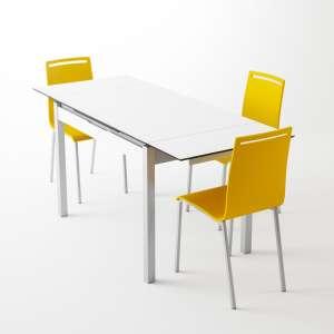 Petite table de cuisine en mélaminé blanc extensible avec tiroir pieds alu - Camel