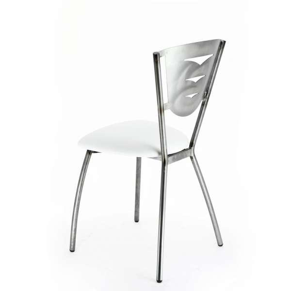 Chaise de cuisine en métal industriel et vinyle blanc fabriquée en France - Hévéa - 6