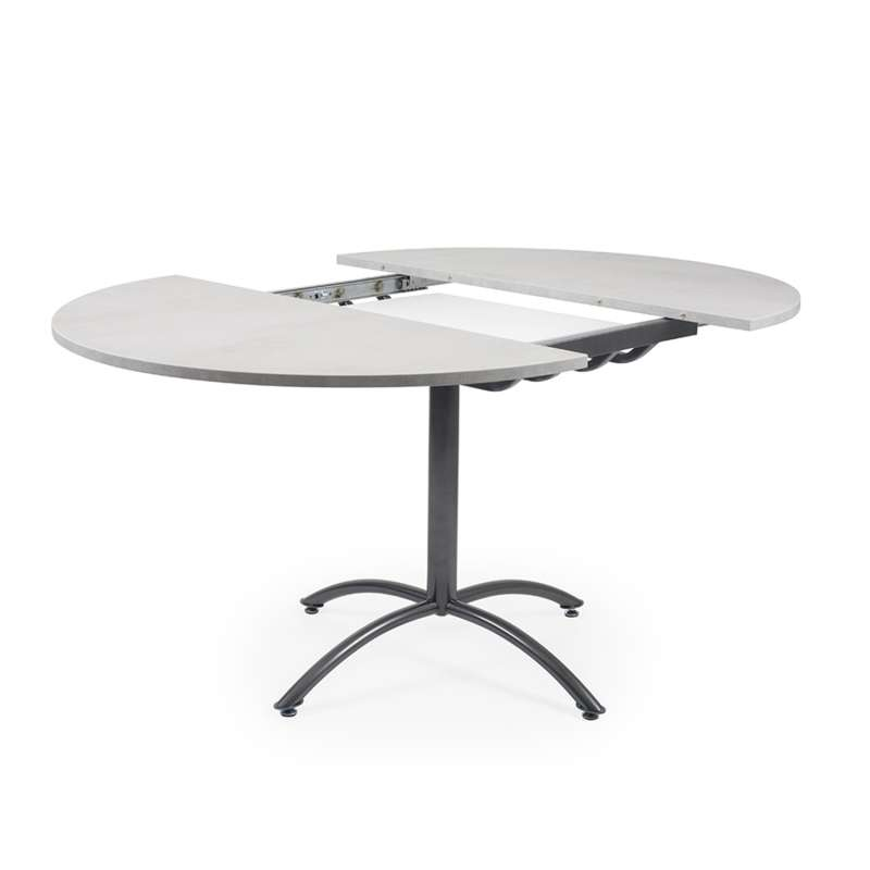 Table Ronde Pied Central Extensible.Table Ronde Pied Central Extensible En Melamine Et Metal Rio Twin
