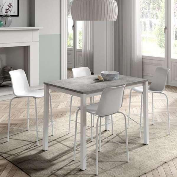 Tabouret empilable en plastique blanc et métal blanc - Paris - 5