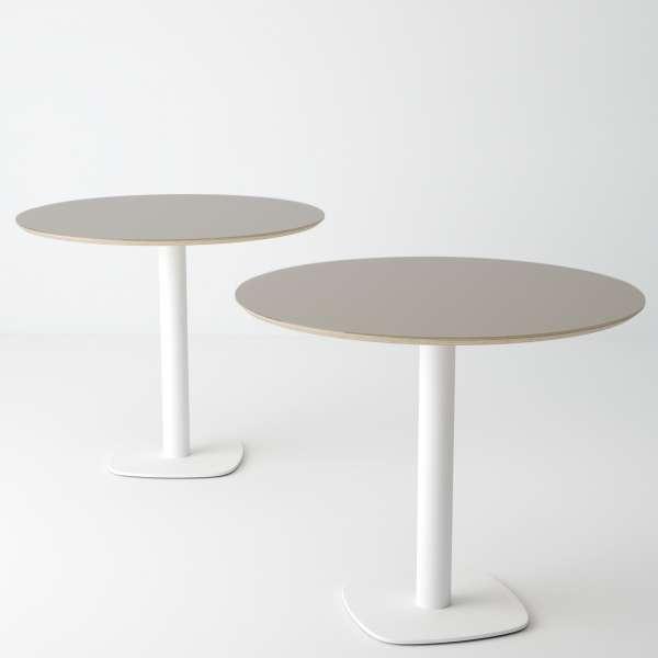 Table de cuisine ronde en verre taupe petit espace - Circus - 4