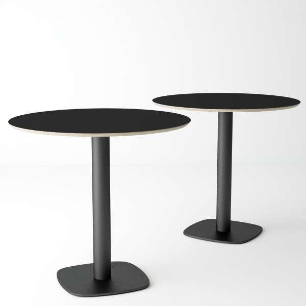 Table de cuisine ronde en verre noir petit espace - Circus - 3