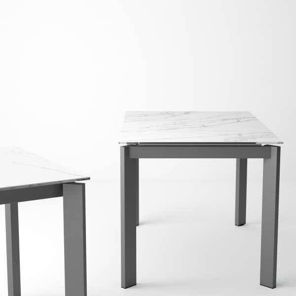 Table petit espace extensible en céramique teinté marbre - Poker - 7