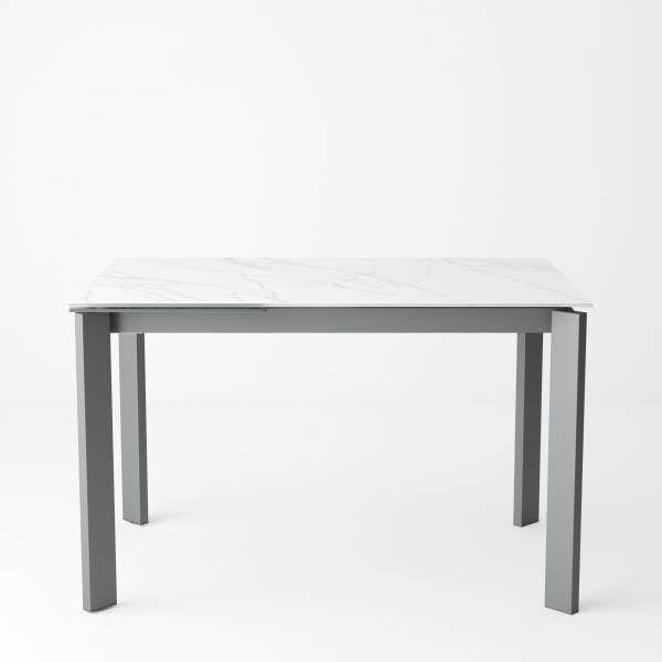 Table pour petit espace extensible en céramique teinté marbre - Poker - 8
