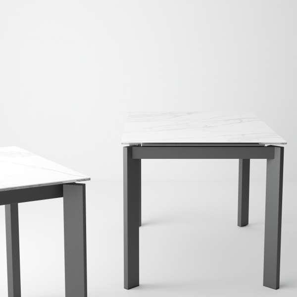 Table petite cuisine extensible en céramique teinté marbre - Poker - 9
