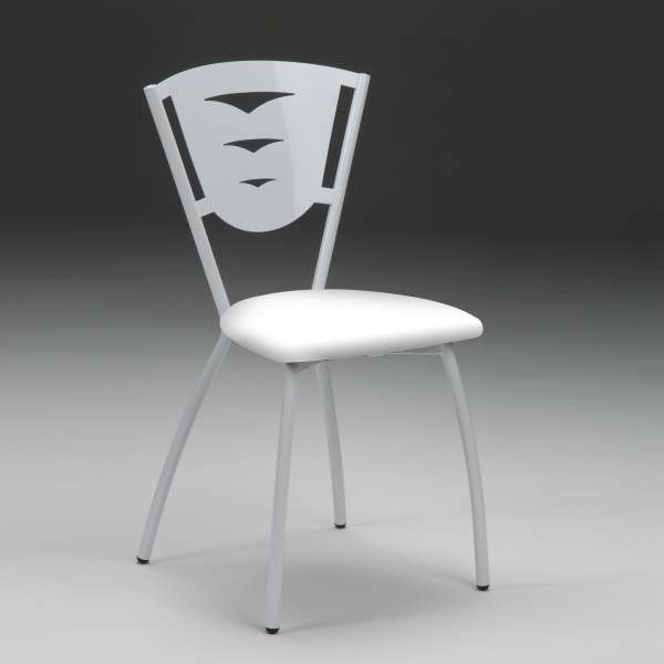 Chaise de cuisine en métal industriel assise rembourrée blanche fabriquée en France - Hévéa - 2