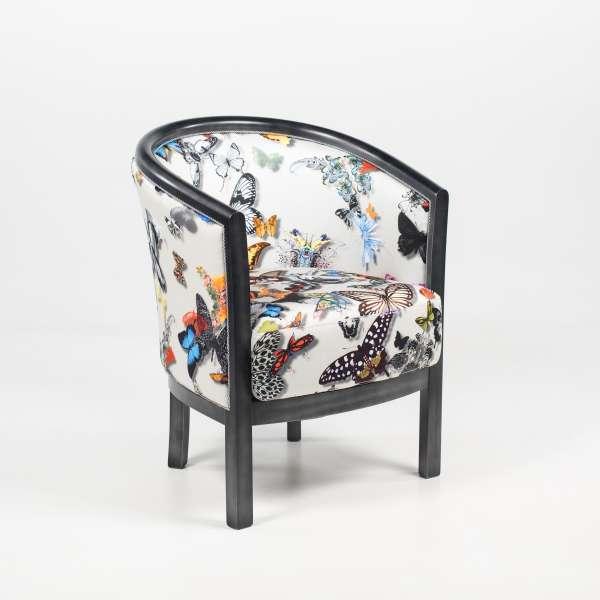 Fauteuil tonneau pour salon en tissu motifs papillons et hêtre massif - Julien - 2