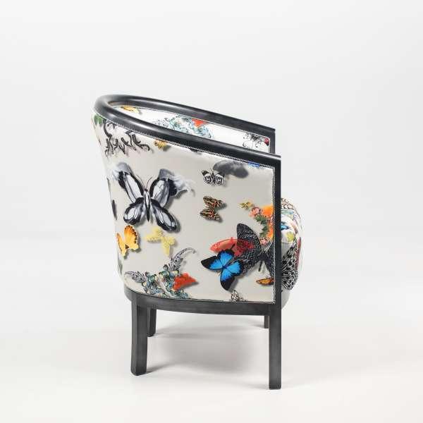 Fauteuil tonneau en tissu motifs papillons et hêtre massif - Julien - 4