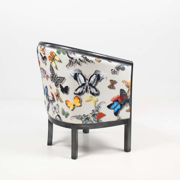Fauteuil tonneau en tissu motifs papillons et bois - Julien - 5