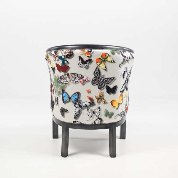 Fauteuil tonneau en tissu motifs papillons et hêtre massif - Julien - 6