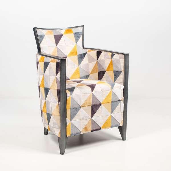 Fauteuil art déco fabriqué en France en tissu avec motifs et bois - Nathan - 3