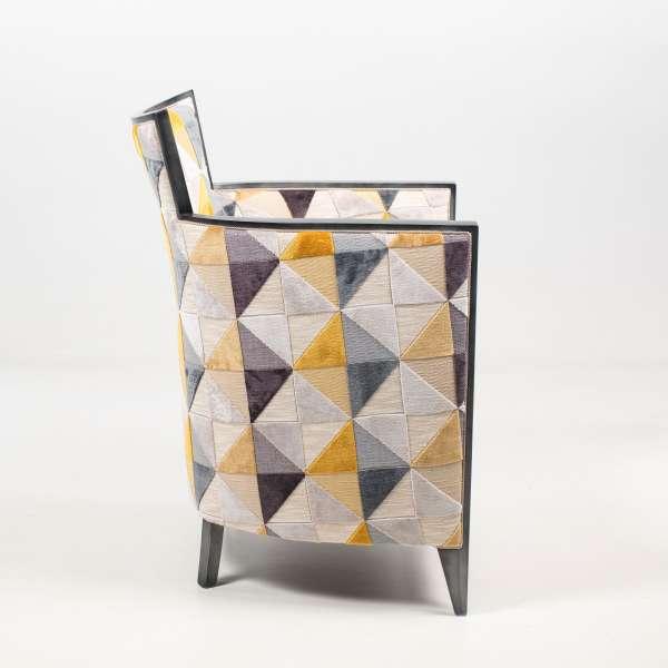 Fauteuil moderne fabriqué en France en tissu floride jaune et bois - Nathan - 5