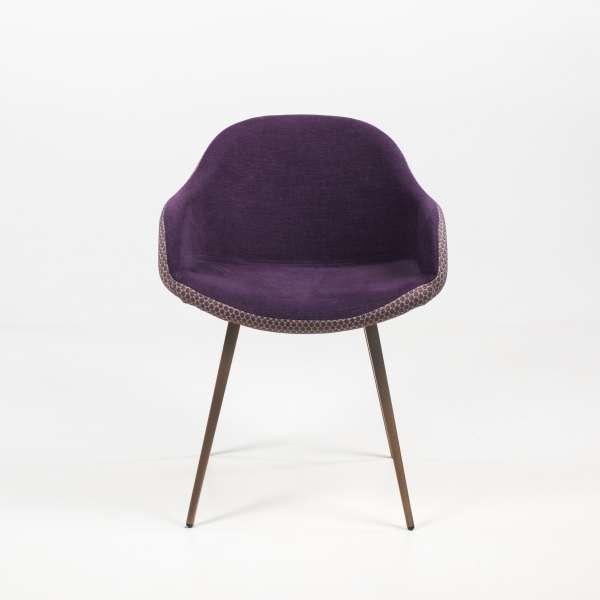 Fauteuil design en tissu violet et métal bronze - Sonny Midj® - 3