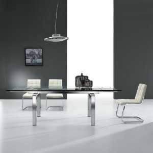 Table design en verre extensible avec pieds chromés - Tanina
