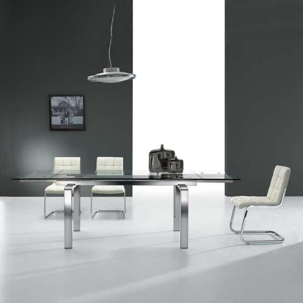 Table design en verre extensible avec pieds chromés - Tanina - 1