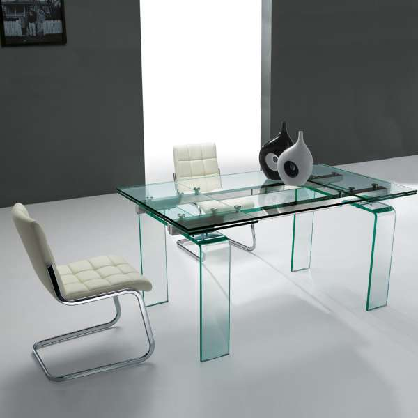 Table design rectangulaire extensible en verre Tania - 1