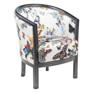 Fauteuil tonneau pour salon en tissu motifs papillons et bois - Julien