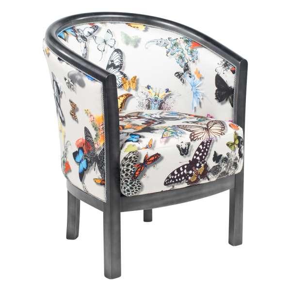 Fauteuil tonneau pour salon en tissu motifs papillons et bois - Julien - 1