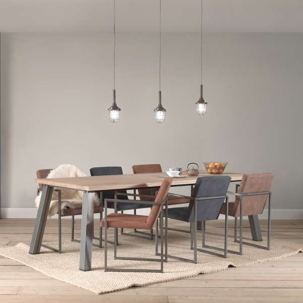 Table moderne en chêne massif et métal - Colombo - 1