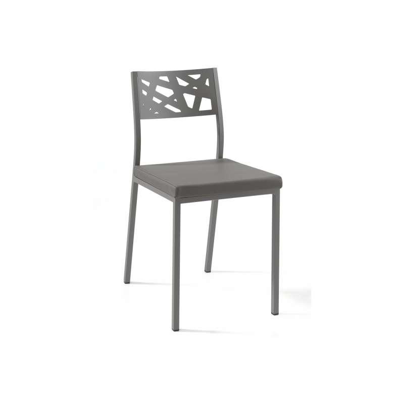 Chaise de cuisine assise rembourrée avec dossier aux motifs géométriques ajourés Tirza
