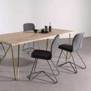 Chaise design de salle à manger en tissu gris anthracite et métal - Hamon
