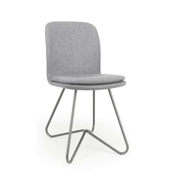 Chaise design de séjour en tissu gris et métal - Harmon - 2