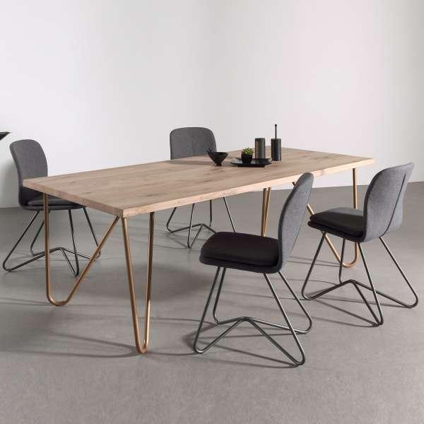 Table Bois Metal Design: Table Design Plateau Bois Massif Pieds Géométriques En