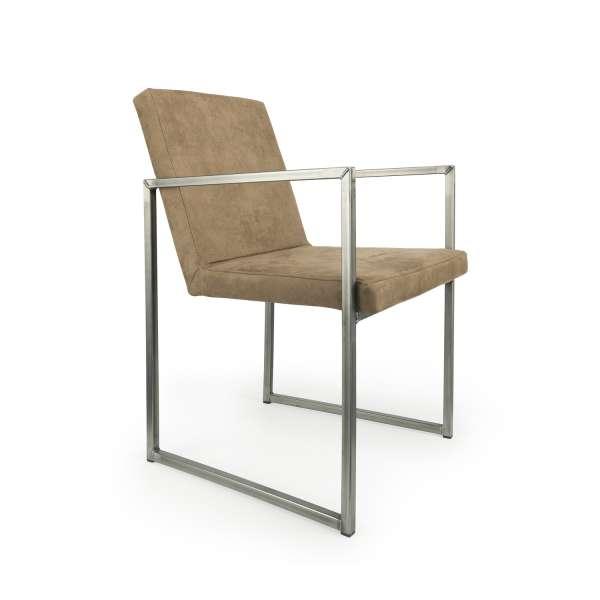 Fauteuil moderne tissu sable style daim et métal alu - Howard - 3