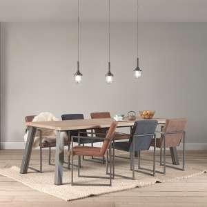 Fauteuil moderne tissu style daim marron et bleu et pieds en métal- Howard