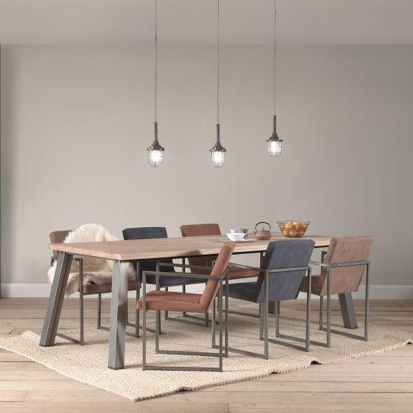 Fauteuil moderne tissu style daim marron et bleu et pieds en métal- Howard - 1